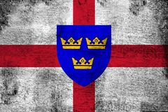East Anglia oxidado y ejemplo de la bandera del grunge ilustración del vector