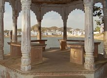 East arbor on the lake in Pushkar stock photography