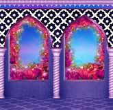 Eastern arches with columns in flowers, sunlight stock illustration