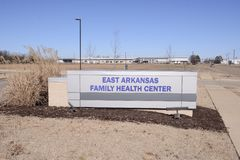 East Arkansas Health Center Sign, West Memphis Arkansas. East Arkansas Family Health Center provides emergency, urgent and minor medical care to people in need Royalty Free Stock Image