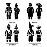 East Asia Clothing Costume. A set of pictograms representing people clothing from Japan, South Korea, China, and Mongolia Stock Images