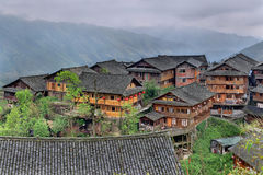 East Asia, countryside, peasant village in mountainous region of Royalty Free Stock Photo