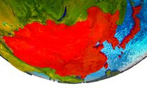 East Asia on 3D Earth. With divided countries and watery oceans. 3D illustration royalty free stock photo