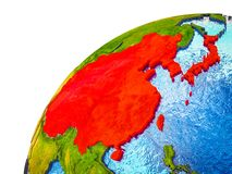 East Asia on 3D Earth royalty free stock image