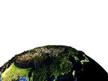 East Asia on Earth with exaggerated mountains. East Asia on model of Earth with exaggerated surface features including ocean floor. 3D illustration. Lot of space Royalty Free Stock Photo