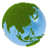 East Asia on green planet vector illustration