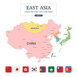 East Asia Map Full Color High Detail Separated all countries Royalty Free Stock Photo
