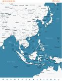 East Asia Map - Vector Illustration. East Asia Map - Detailed Vector Illustration Stock Photo