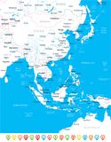 East Asia Map - Vector Illustration Royalty Free Stock Photos