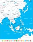East Asia Map - Vector Illustration. East Asia Map - Detailed Vector Illustration Royalty Free Stock Photos