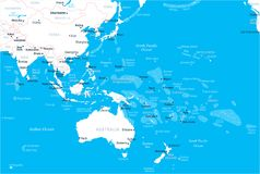 East Asia and Oceania Map - Vector Illustration. East Asia and Oceania Map - Detailed Vector Illustration Royalty Free Stock Photos