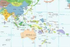 East Asia and Oceania Map - Vector Illustration. East Asia and Oceania Map - Detailed Vector Illustration stock illustration