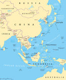 East Asia political map Stock Image