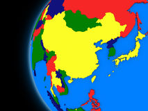 East Asia region on political Earth Royalty Free Stock Images