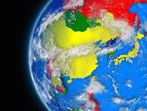 East Asia region on political globe Stock Image
