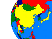 East Asia region on political globe Stock Photography