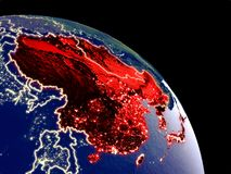 East Asia from space. East Asia at night from orbit. Plastic planet surface with visible city lights. 3D illustration. Elements of this image furnished by NASA stock illustration