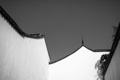 East Asian abstract ancient building roof and wall Stock Image