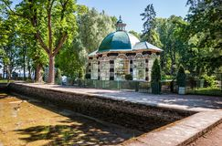 East aviary. With exotic birds in the park of Peterhof stock photo