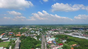 East Bangkok, Thailand, sunshine in the morning. the place far from landmark of Bangkok. this place have house, rice field and str. Aerial view of East Bangkok stock video
