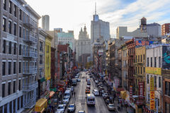 East Broadway NYC. East Broadway on the Lower East Side from the Manhattan Bridge Overpass in New York, NY, USA in 2013 royalty free stock photo