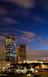 East buildings of downtown Houston. View of the east part of downtown Houston just after sunset, at traffic time Royalty Free Stock Photo