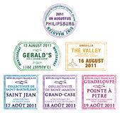 East Caribbean. Passport stamps of the Windward Islands in the Caribbean in  format Royalty Free Stock Photo