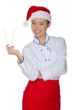 East chef with chopsticks Royalty Free Stock Image