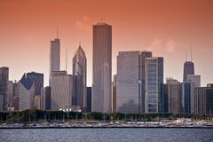 East Chicago Skyline. East Side ( Lake Side ) Chicago Skyline at Sunset. Horizontal Photo. Chicago, Illinois, USA Royalty Free Stock Image