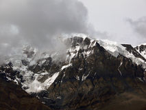 East Chulu Himalayan Peak Shrouded in Monsoon Clouds Stock Photography
