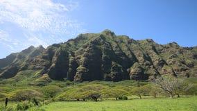 East cliffs of Kualoa Ranch, Oahu. Film location of Jurassic Park - Oahu, Hawaii stock video footage