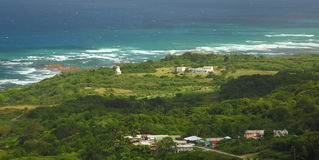 East coast of Barbados, Caribbean. The popular spot for surfers dramatic views of the atlantic breakers crashing against the rugged shoreline. The image was Stock Images