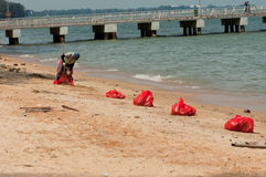 East Coast Beach Clean Up in Singapore Royalty Free Stock Image
