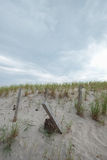 East coast beach storm fence protecting tall sand dunes Stock Photos