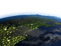 East coast of Canada at night on planet Earth Stock Image