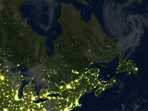 East coast of Canada at night on planet Earth Stock Photography