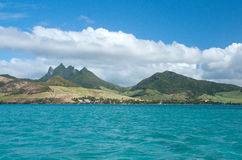 East coast - panorama. Panorama view of east coast of Mauritius stock images