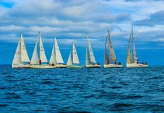 East Coast Regatta. Getting ready for the gun at the start of the regatta off the east coast of Ireland stock image
