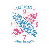 East coast surfing emblem Royalty Free Stock Image