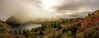 East Coast Trail in Newfoundland, Canada. Misty Panorama stock image