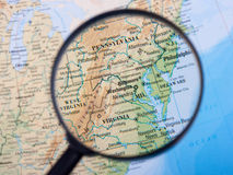 East Coast under loupe. East Coast under magnifying glass royalty free stock photo