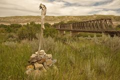 East Coulee Truss Bridge in the Badlands royalty free stock images