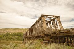 East Coulee Truss Bridge Landscape stock photography