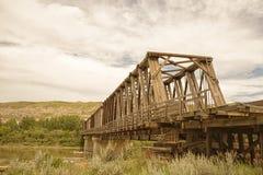 East Coulee Truss Bridge Landscape stock photography