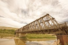 East Coulee Truss Bridge on the Red Deer River stock photo