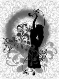 East dance. Silhouette of the girl, dancing dance of the belly on abstract background with vegetable element and halftone Stock Photos