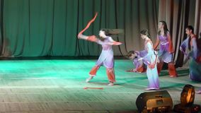 East Dance. DNIPROPETROVSK, UKRAINE - APRIL 2, 2016: Unidentified girls, ages 7-11 years old, perform East Dance at the State Palace of children and youth stock video