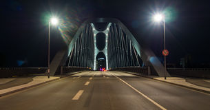 The East Dock Bridge, Osthafenbrücke, at night in Frankfurt, Ge Royalty Free Stock Photography