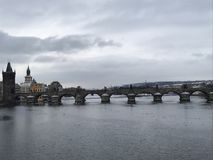 East. Europe bridge in cold morning Stock Image