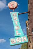 East Ely, Nevada,USA. 11th May 2015 Old neon hotel sign Royalty Free Stock Photo